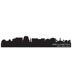 Wellington new zealand skyline detailed silhouette vector