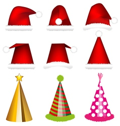 Santa cap and party cap vector