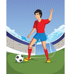 Football soccer player is number one in a stadium vector