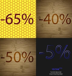 40 50 5 icon set of percent discount on abstract vector