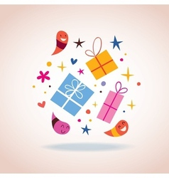 Gifts with cute characters sparks and stars vector