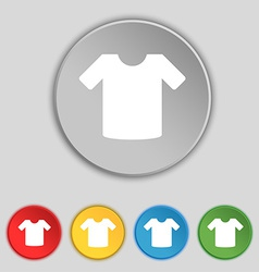 T-shirt clothes icon sign symbol on five flat vector