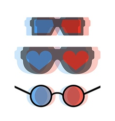 Modern 3d cinema glasses set vector