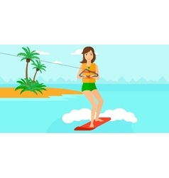 Professional wakeboard sportswoman vector