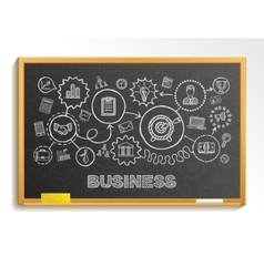 Business hand draw integrated icons set on school vector image