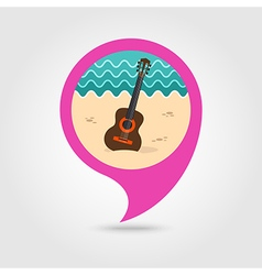 Guitar beach pin map icon summer vacation vector