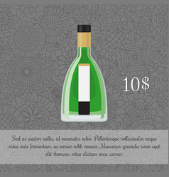 Absinthe alcoholic beverage card template vector