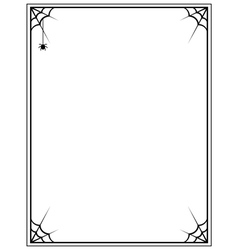 black frame with spider web on a white background vector image vector image