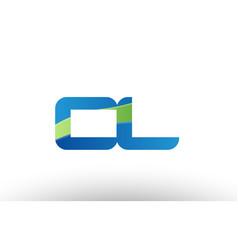 Blue green cl c l alphabet letter logo vector