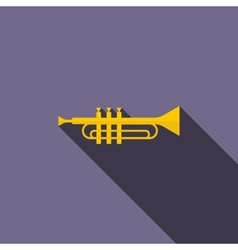 Brass trumpet icon flat style vector image vector image
