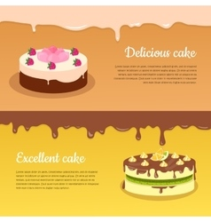 Delicious and excellent cake flat banners vector