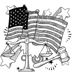 Doodle americana justice bw vector