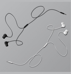 earphones with connector vector image vector image