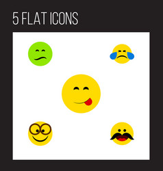flat icon gesture set of cheerful pleasant cold vector image vector image