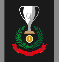 gold medal reward for first place silver cup vector image