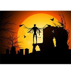 Halloween background with devil vector