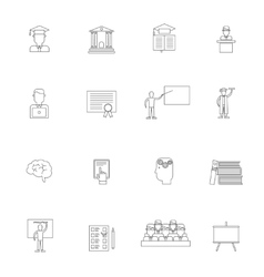 Higher education icon outline set vector