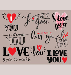 i love you text overlays hand drawn vector image