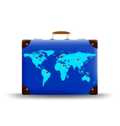 map of the world depicted on suitcase vector image vector image