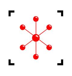 Molecule sign red icon vector