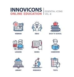 Online education line design icons set vector image vector image