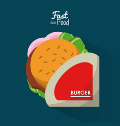 Poster fast food in blue background with personal vector