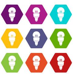 Reflector bulb icon set color hexahedron vector