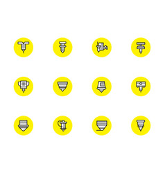 Robotic cnc lasers simple line icons vector
