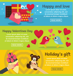 saint valentine banner horizontal set flat style vector image vector image