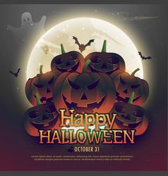 Scary halloween pumpkins on moon vector