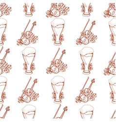 Seamless pattern with a violin and a glass of vector