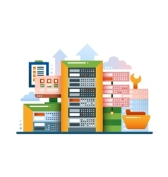 Servers - flat design website banner vector image