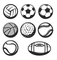 set of sport balls icons isolated on white vector image vector image
