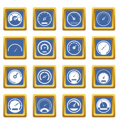 Speedometer icons set blue vector