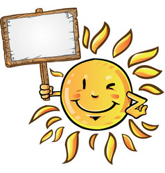 sun cartoon with signboard vector image