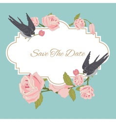 Vintage flowers background with birds vector image vector image