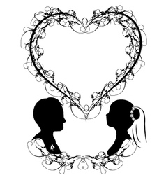 Wedding invitation silhouette of bride and groom vector image wedding silhouette vector image junglespirit Choice Image