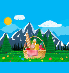 Wicker picnic basket full of products and nature vector