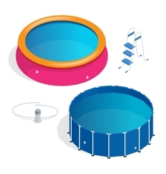 Isometric portable plastic swimming pool vector