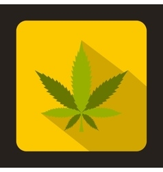 Marijuana leaf icon in flat style vector
