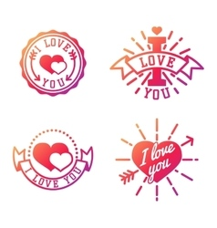 I love you logo badges vector