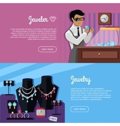 Set of Jewelry Concept Web Banners vector image