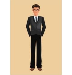 Business man suit necktie glasses vector