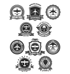 Aviation badges and air trip tour symbols vector