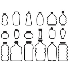 Bottle container outline icons vector