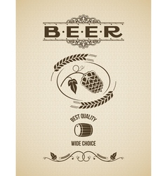 Beer ornate hops design background vector