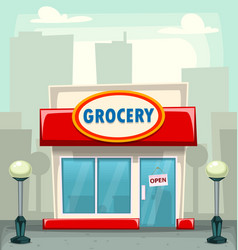Cartoon typical grocery retail store building vector