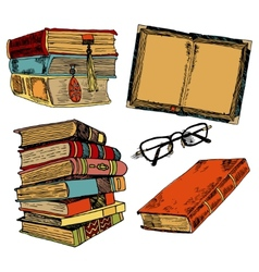 Vintage books color sketch vector