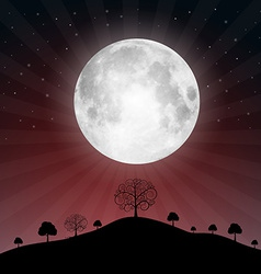 Full Moon with Stars and Trees - vector image