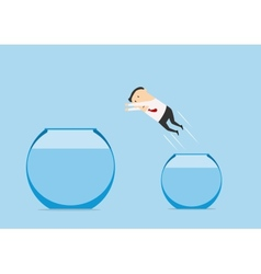 Businessman jumping out from one fish bowl to vector image
